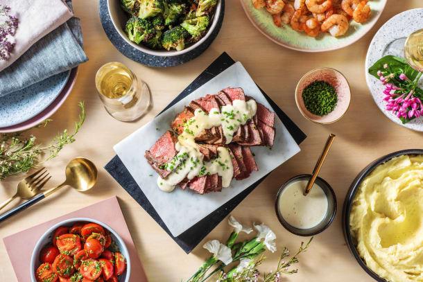 Surf & turf: garnalen en biefstuk