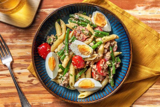 Pasta niçoise met sperziebonen en tonijn