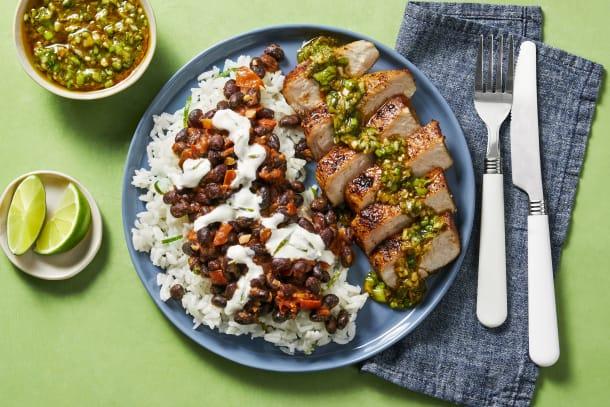 Pork Chops with Zesty Green Onion Salsa