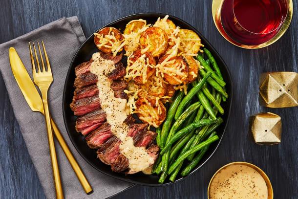 Bavette Steak & Sherry Shallot Sauce