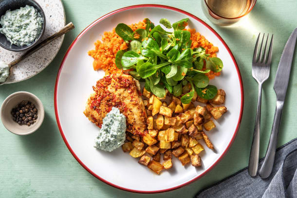 Scharfe Hähnchenbrust mit Karotten-Feldsalat