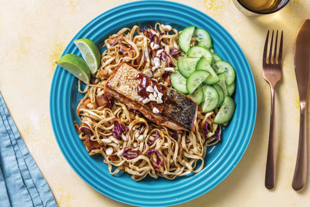 Quick Meals - Asian Glazed Salmon with Noodles & Peanuts