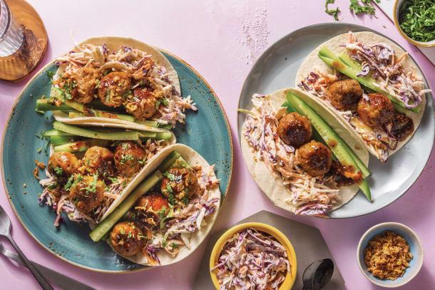 Asian Pork Meatball Tacos