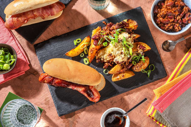 BBQ Bacon Wrapped Sausage Bap