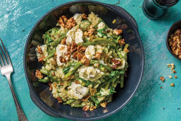 Vegetarian Recipes - Basil Pesto & Goat Cheese Risotto