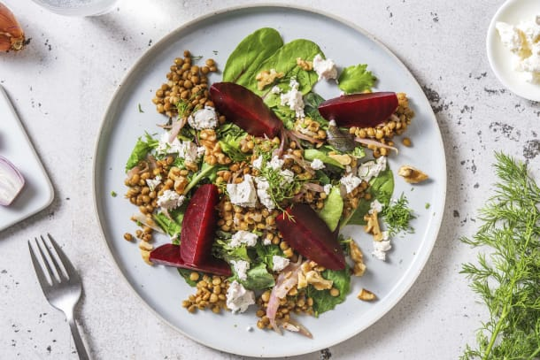 Beetroot, Lentil and Goat's Cheese Salad
