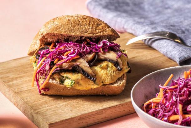Burger végétarien au portobello et à la fourme d'Ambert