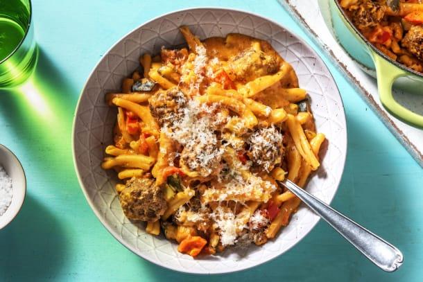 Casarecce à la sauce tomate & boulettes de boeuf