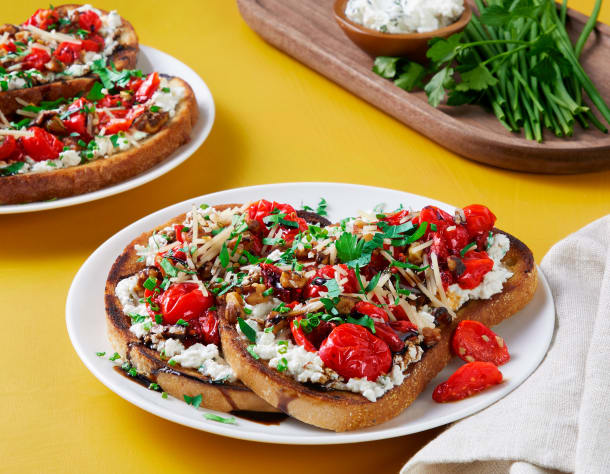 Charred Tomato & Herby Ricotta Toasts