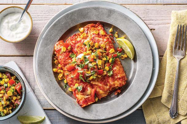 Cheesy Mexican Bean Enchiladas