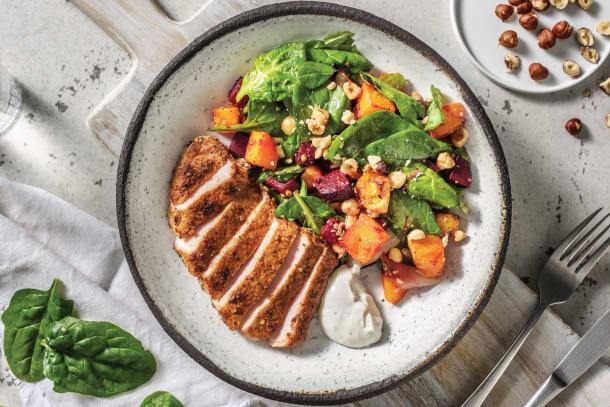 Chermoula-Spiced Pork & Dukkah Roasted Veggies with Garlic Yoghurt & Hazelnuts