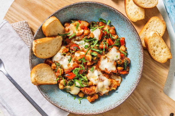 Chickpea, Sweet Pepper and Spinach Shakshuka