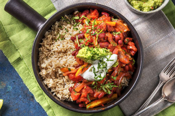 Chili sin carne & guacamole maison