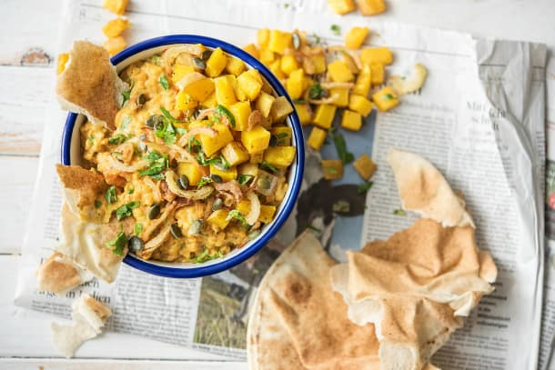 Coconut Dal with Roasted Butternut Squash,