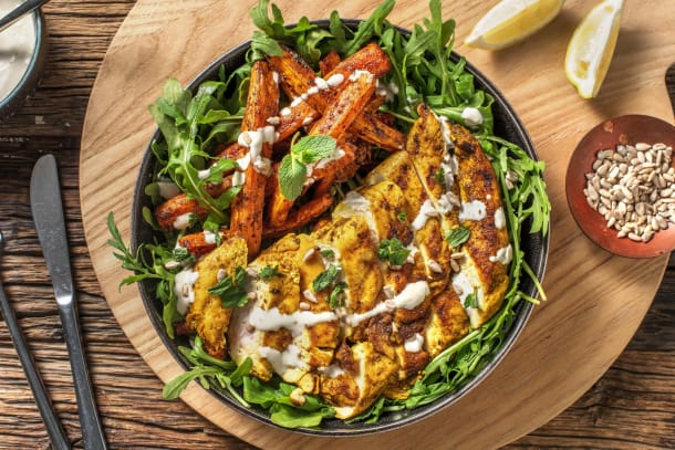 Cumin Chicken and Grilled Carrots