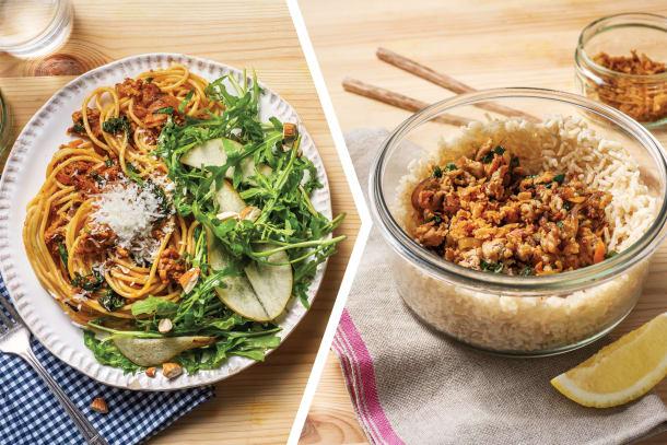 Pork & Red Pesto Spaghetti for Dinner
