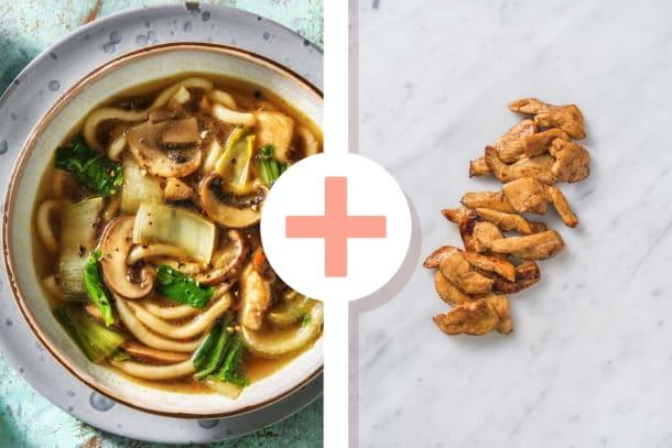 Snelle gerechten - Japanse noedelsoep met dubbele portie kipfilet