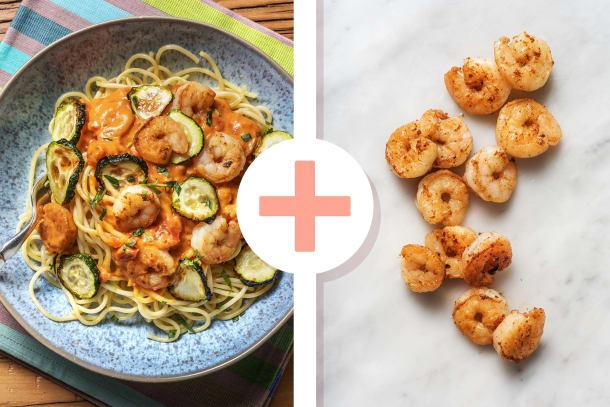 Spaghetti met garnalen in curry-roomsaus