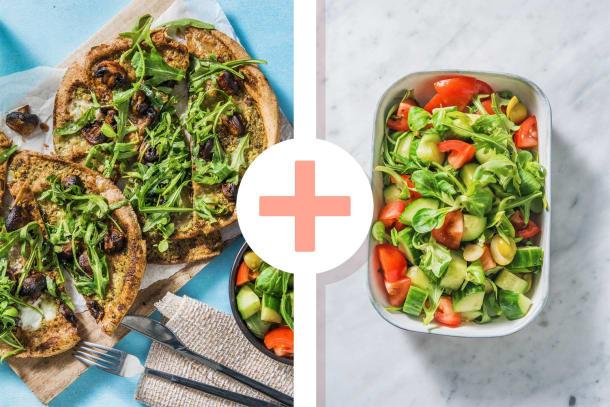 Snelle gerechten - Platbroodpizza met groene pesto
