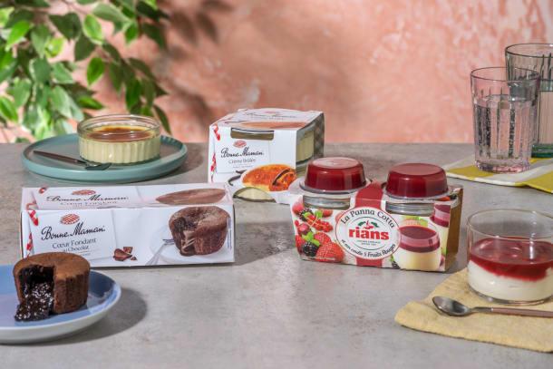 Ensemble de desserts : Panna Cotta aux fruits rouges | Crème Brûlée | Fondants aux chocolat