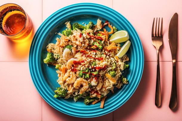 Gesunde Gerichte - Gebratener Reis mit Garnelen