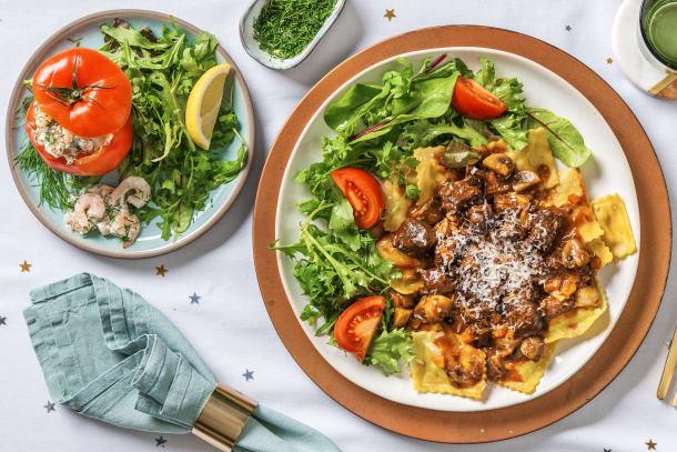 Ragoût de cerf et raviolis frais