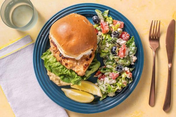Schnelle Gerichte - Griechischer Hähnchenburger
