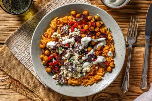 Schnelle Gerichte - Griechische Orzo-Nudel-Pfanne