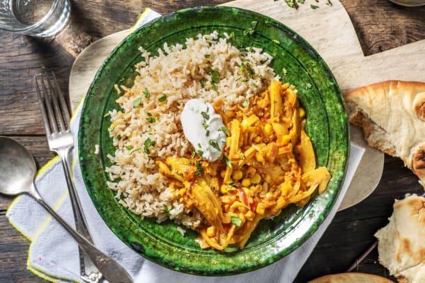 Indiase curry met venkel en mais