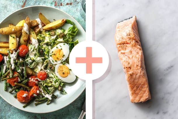 Salat nach Art Niçoise mit extra Lachsfilet