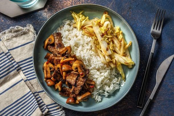 Koreaanse biefstukreepjes met rijst