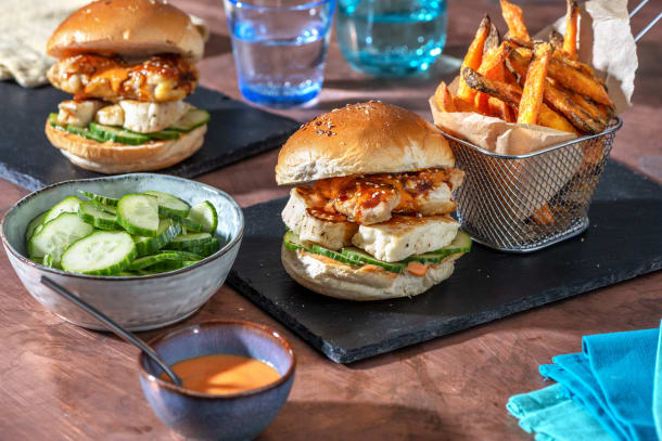 Korean-Style Fried Chicken and Halloumi Burger