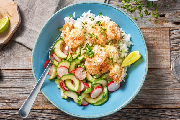 Riz coco et crevettes grillées