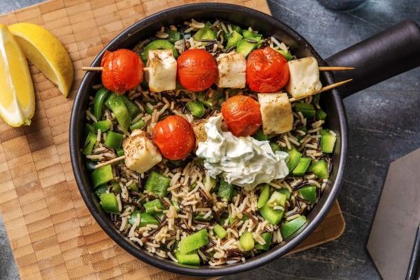 Kalorisnåla måltider - Marinerade halloumi- och tomatspett