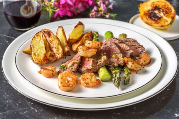 Surf and Turf: Fillet Steak and King Prawns