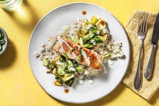 Pan-Fried Salmon with Soy-Glazed Bok Choy