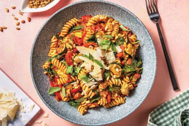 Vegetarian Recipes - Pesto Roasted Vegetable Fusilli