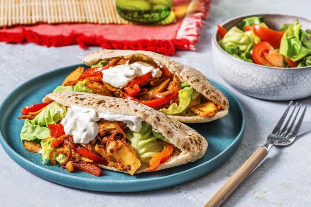 Pita met vegetarische döner kebab