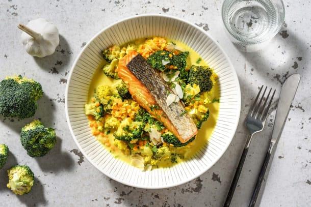 Poêlée de lentilles au saumon & brocoli