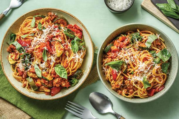 Pork & Roasted Veggie Spaghetti