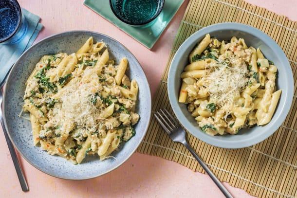 Snelle gerechten - Romige pasta met gekruid kipgehakt