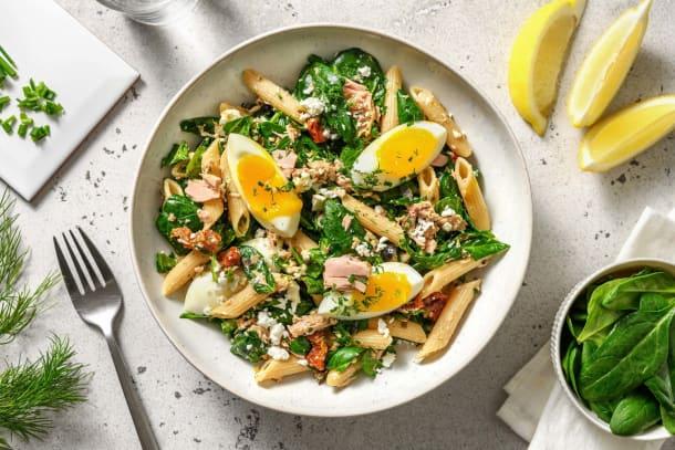 Salade de pâtes à la grecque au thon & olives