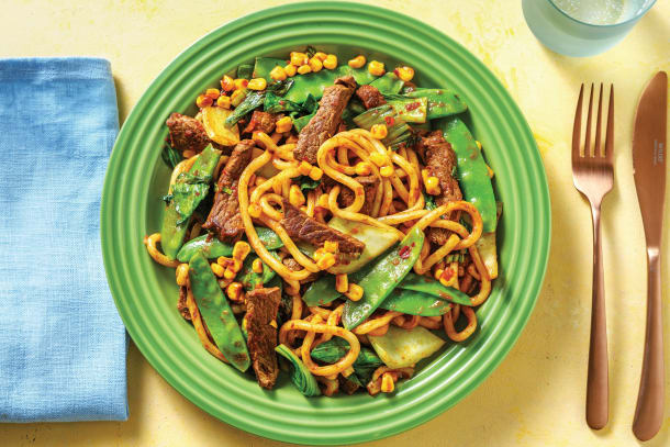 Quick Meals - Sichuan Beef Strips with Noodles & Asian Veggies
