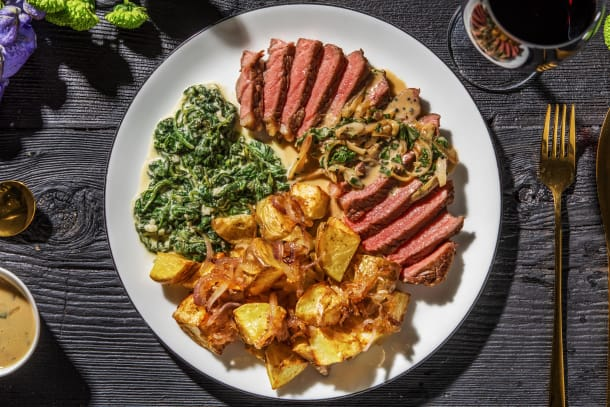 Sirloin Steak and Creamed Spinach