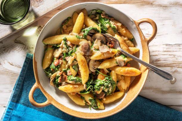Gesunde Gerichte - Sommerliche Spinat-Schupfnudel-Pfanne