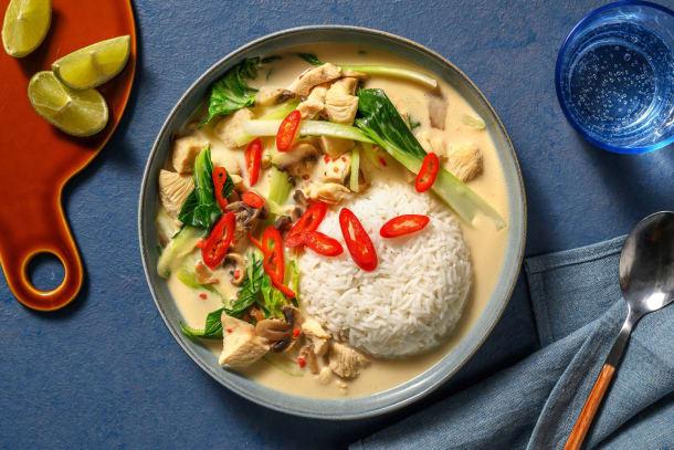 Tom kha kai soep met kip en kokosmelk
