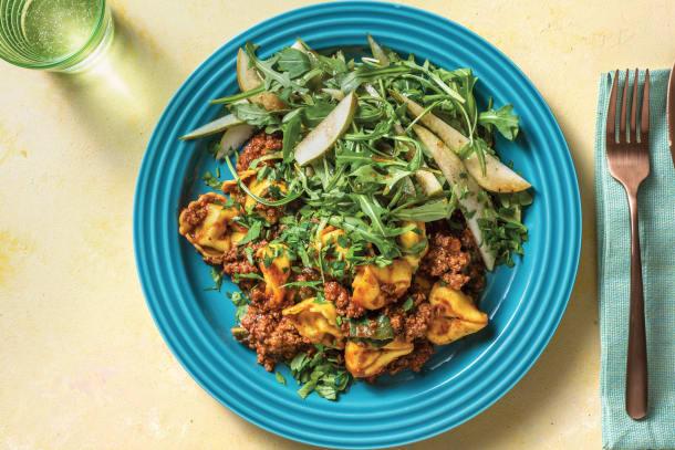 Speedy Beef Ragu Tortellini with Rocket-Pear Salad