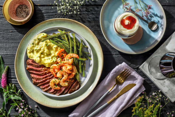 Steak and Chili-Garlic Poached Shrimp with Green Beans