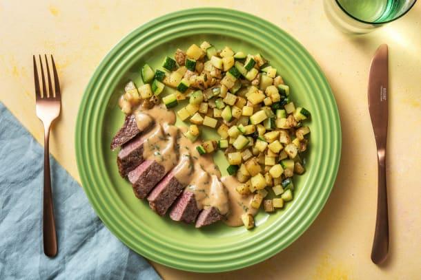 Gesunde Gerichte - Steak mit Kräuterrahm