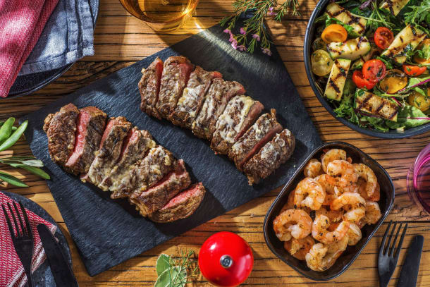 Steak with Montreal Spiced Shrimp